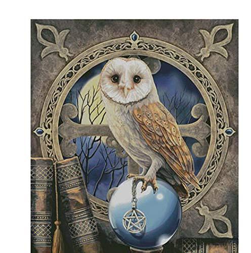 LFVGUIOP 5D DIY Diamant Malerei Kreuzstich Bild Owl Tierwandaufkleber des vollen Bohrgeräts runden Diamant - Band Stickerei Handwerk-45x60cm - Jubiläum-diamant-band
