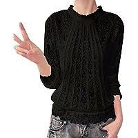 BHYDRY Frauen-Feste Lange Hülsen-O-Ansatz-Spitze-beiläufige Spitzenblusen-T-Shirt