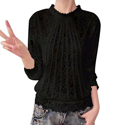 Btruely Damen Tops Sommer Frau T-Shirt Langarm Bluse Spitze Hemd O-Ausschnitt Oberteile Casual Tops (XXXL, Schwarz) (Flag Langarm-shirt)