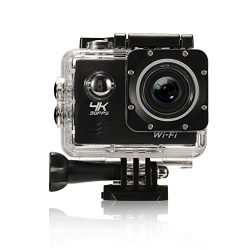 Sport Action Kamera, 4K WIFI Ultra HD Wasserdicht DV Camcorder 16MP 170 Grad Weitwinkel 2 Zoll LCD-Bildschirm mit 1pcs Batterie Schwarz