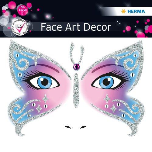 Sticker, Kostüm Aufkleber für das Gesicht, Motiv Butterfly Schmetterling, dermatolog. getestet (Kostüme Schmetterling)