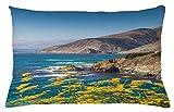 ABAKUHAUS Carmel Funda para Almohada, Santa Lucia Escena de Las montañas, Decorativo, Estampado en Ambos Lados, 65 x 40 cm, Multicolor