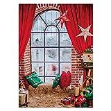 Allenjoy - Tenda rossa per finestra natalizia da 1,5 x 2,1 m, per fotografie, sfondo invernale, luci per feste di Natale, striscione decorativo per baby shower, nascita, cabina fotografica