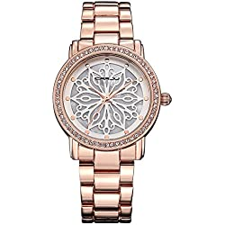 Forepin® Elegant Damen Uhren Armbanduhr Watch Bewegung mit Strass Funkeln Analog Rosegold Anzeigen