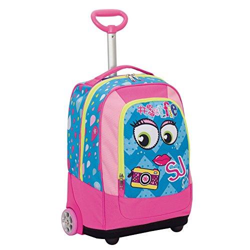 Big trolley sj face girl - blu - 33 lt - 2in1 zaino  con spallacci a scomparsa - scuola & viaggio