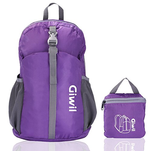 Imagen de giwil 20l  ultraligera plegable bolsa de viaje, ideal para senderismo, compra, ciclismo y escalada nylon impermeable púrpura  alternativa