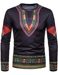 ZIYOU T Shirts Sweatshirt Schwarz Herren Afrikanischen 3D Drucken Pullover Langarm Rundhals Hemd Tops für Männer Herbst Winter
