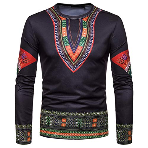 ZIYOU T Shirts Sweatshirt Schwarz Herren Afrikanischen 3D Drucken Pullover Langarm...