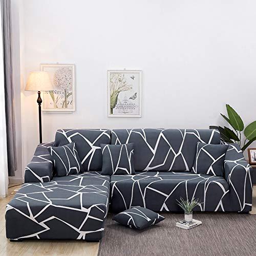 Copridivano con penisola elasticizzato chaise longue copridivano angolare antimacchia sofa cover componibile in poliestere a forma di l 2pcs, federe protettive per divano(marmo,2 posti+3 posti)