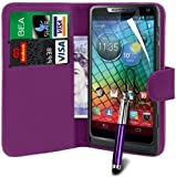 N4U Online Motorola Razr i XT890 PU Leather Wallet Case Cover, Screen Protector & Stylus Pen - Purple