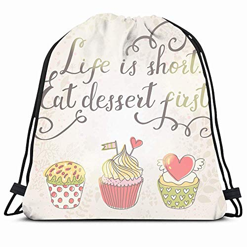 Drawstring Backpack String Bag 14x16 Tasty Pink Christmas Life Short Yummy Eat Dessert First Food Drink Muffin Bakery Party Text Birthday Love Sport Gym Sackpack Hiking Yoga Travel Beach