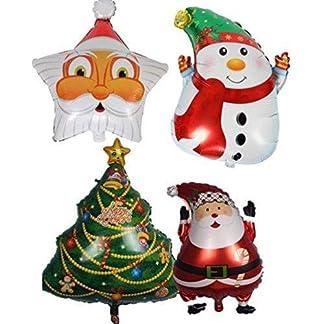 Depory – Globos de papel de aluminio para decoración de Navidad (4 unidades), diseño de muñeco de nieve, Papá Noel, Claus, árbol