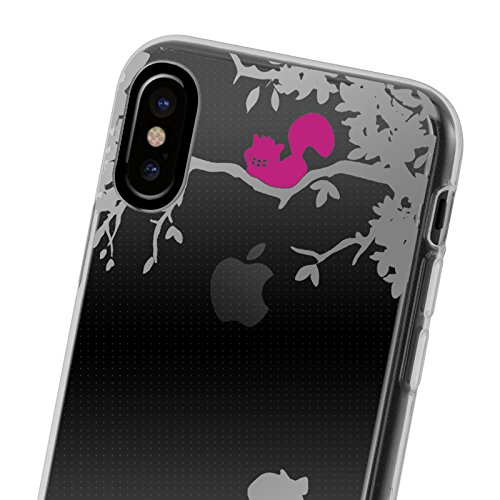 iPhone X Hülle JAMMYLIZARD [Sketch Backcover] Transparentes Slim Case aus Silikon für Apple iPhone X Edition (2017), Tropisches Blumenmuster ALICE