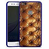 Huawei P10 lite Slim Case transparent blau Silikon Hülle Schutzhülle Leder Muster Sofa Leder Couch Look