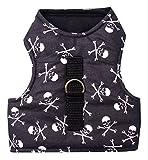 Katzengeschirr Jacket Brustgeschirr ausbruchsicher Pirat Skull Totenkopf schwarz-weiß (L: (bitte Maße beachten!))