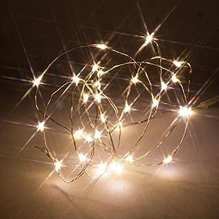 Mikro-LED-Streifenlampen, Dünner Draht, mit Timer-Modus, batteriebetrieben, Firefly Fairy Lights von Qbis (30 Warm-weiß)