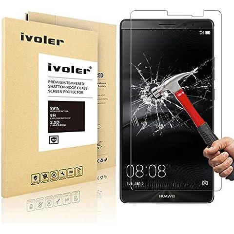 Huawei Mate 8 Protector de Pantalla, iVoler® Protector de Pantalla de Vidrio Templado Cristal Protector para Huawei Mate 8 -Dureza de Grado 9H, Espesor 0,20 mm, 2.5D Round Edge-[Ultra-trasparente] [Anti-golpe] [Ajuste Perfecto] [No hay Burbujas]- Garantía Incondicional de 18 Meses