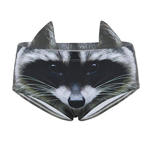 CHICTRY Der Tier-Katzen-Druck der Frauen druckt Nette Druck-Schriftsätze mit den Ohren, Nette Katze 3D gedruckte Hippie-Unterwäsche Waschbär Stil One Size