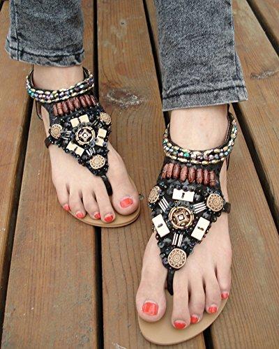 Sandali da donna Clip Toe Sandali Estate Scarpe Bassi Bohemian con perline Nero