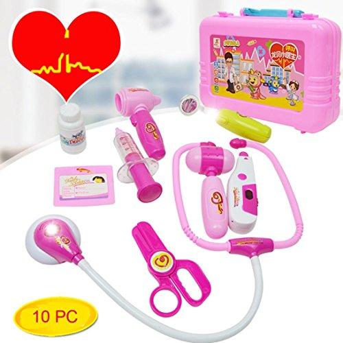 Xshuai 16 * 24 * 6 cm 10 stücke Kinder Baby Arzt Medizinische Play Carry Set Fall Bildung Rolle Spielen Spielzeug Für Weihnachtsgeschenk (Rosa)