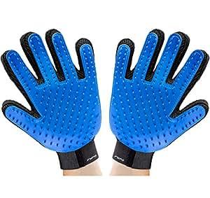 Fypo Guanto di Massaggio Guanti Pennelli Grooming Deshedding Tool per Raccolta di Capelli di Cane Gatto Cavalli (Blu)