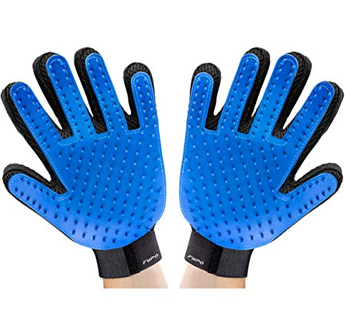 Fypo Gloves for Brushing Pets and Remove Hairs TPR Mitten Massage Dogs and Cats Adjustable Size Blue, 1 Pair