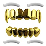Grillz placcato in oro 24K con denti aguzzi per bocca set denti Hip Hop superiore inferiore + 2 barre di modellatura extra
