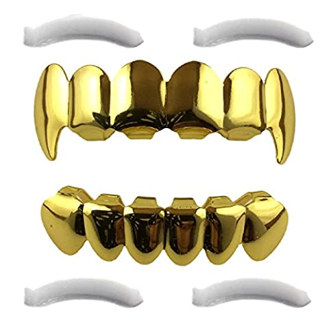 24K Gold Plated Grillz Top And Bottom Fangs + 2 Extra Molding Bars