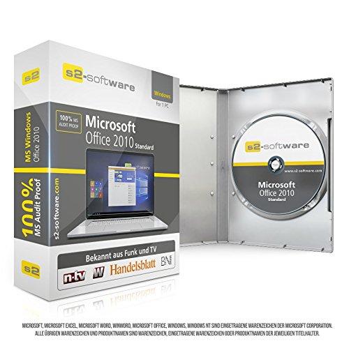 Microsoft® Office 2010 Standard. Original-Lizenz. 32 bit & 64 bit. Deutsch+ML. Audit Sicher, S2-ISO DVD, Lizenz. CLP Zertifikat