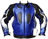 Motorrad Lederjacke Motorradjacke biker/kombi jacke Rindsleder Blau, Größe:S