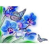 BAIYUDE DIY 5D Diamant Peinture Fleurs Décor À La Maison Bleu orchidée Strass Stickers Muraux Diamant Broderie Couture Diamant Mosaïque 45x60CM
