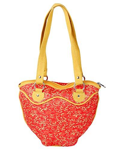 Gewebte Blätter (Indian Selbst Gewebte Baumwolle Jacquard Blättern Rote Handtasche für Damen Von Rajrang)