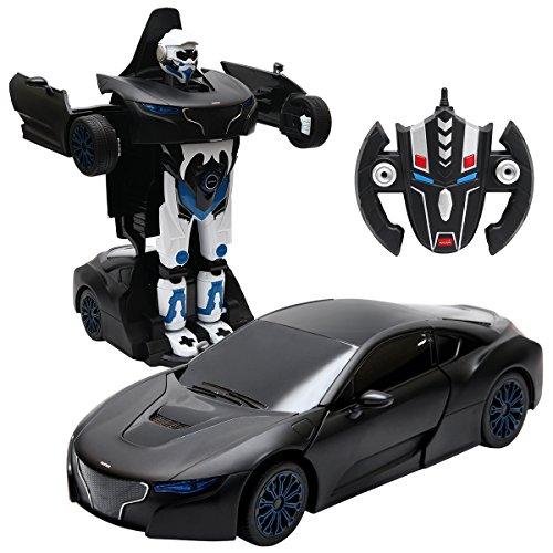 COSTWAY 2,4 GHZ RC Transformator Roboter-Auto Ferngesteuert Transformers Auto & Robot verwandelbar 1:14RS (schwarz)