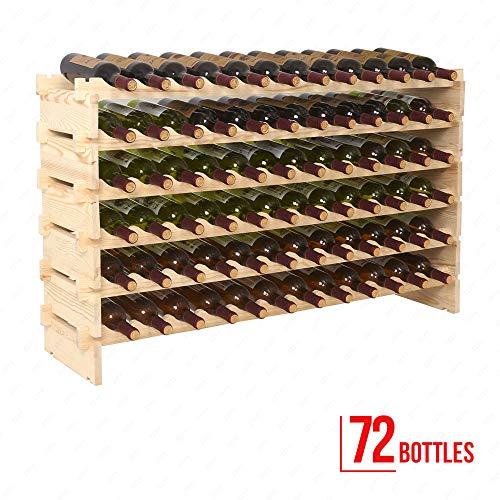 Botellero de madera apilable. Gran capacidad. 7 estantes. 72 botellas