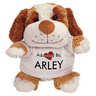 Adopted By TB2 Arley Cuddly Dog Teddy Bear Wearing a Printed Named T-Shirt
