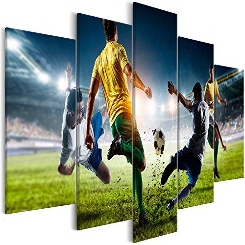 murando Cuadro fútbol 200x100 cm - 5 partes - Impresion en calidad fotografica - Cuadro en lienzo tejido-no tejido - Deporte i-B-0051-b-m