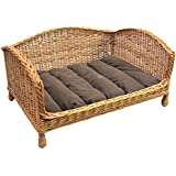 Prestige Wicker Pet Bed Settee with Cushion, Extra Large