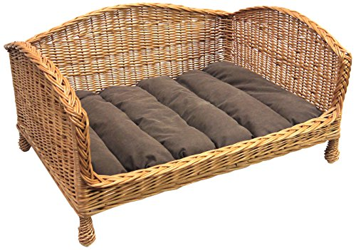 Prestige Wicker Pet Bed Settee with Cushion, Large( Handmade item, Size may Vary slightly)
