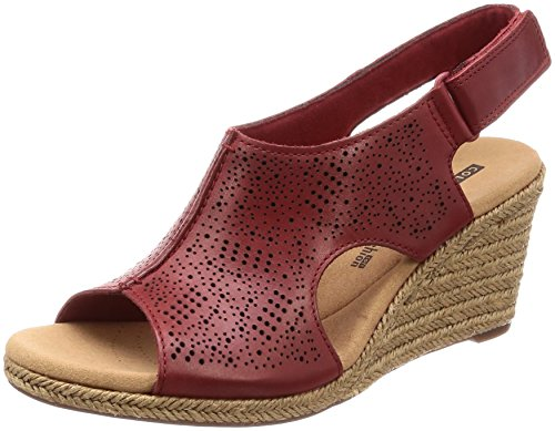 Schuhe Wedges Clark (Clarks Damen Lafley Rosen Slingback Sandalen, Rot (Red), 38 EU)