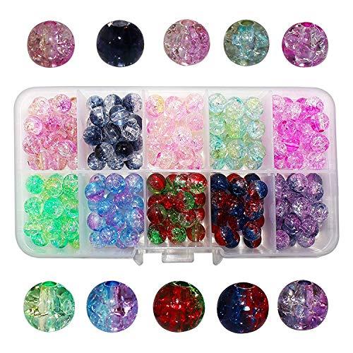 200 perline effetto screpolato-perline vetro colorato 8 mm per creazione gioielli bambini collana e bracciale, progetti artigianato- perline screpolate rotonde vetro con custodia archiviazione