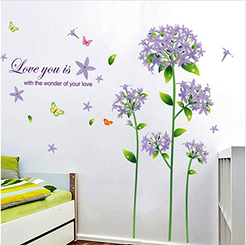 Hllcy decorazione domestica fiori belli farfalle adesivo murale soggiorno camera da letto giardino pianta decalcomanie autoadesive rimovibili fai da te
