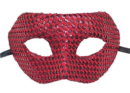 Flywife Maskerade Maske für Herren und Damen Bling Glänzend Paillette Halloween Kostüme Party Ball Mardi Gras Karneval Maske (Wein Rot)