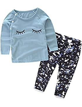 HBER 0-3 anni Bimba Neonata Manica lunga Stampa di ciglia Maglietta Top + camuffare Pantaloni di Leggings Set...