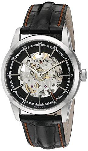 Hamilton Timeless Classic 'Swiss reloj de vestido de cuero y de acero inoxidable automático de los hombres de, color: negro (modelo: h40655731
