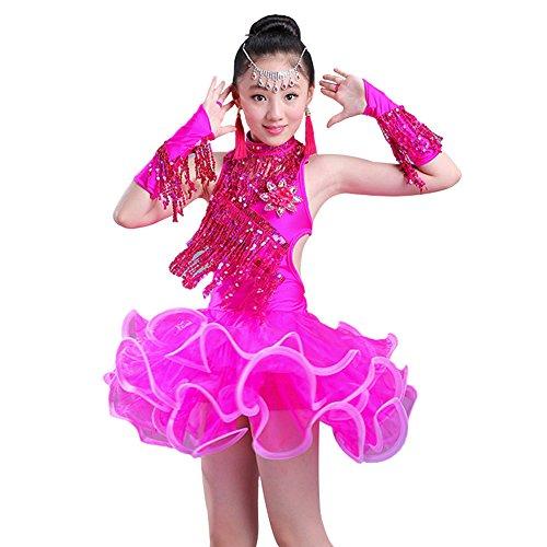 LOLANTA Mädchen Sparkling Quaste Latin Dresses Kinder Rumba Salsa Rock Fringe Dancewear (146/152, Rosered)
