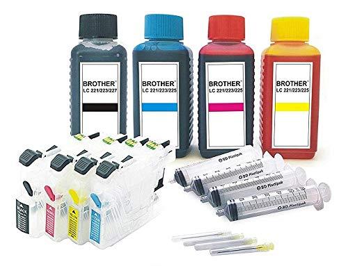 Wiederbefüllbare Quickfill/Fill-in/Easy Refill/Patronen LC-223 black cyan magenta yellow mit Auto Reset Chips + 400 ml Ink-Mate Premium Markentinte für Brother -