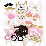 20tlg. Pink Baby Shower Party Foto Verkleidung Photo Booth Props Maske Baby Taufen Party Geburtstag Fotorequisiten Fotoautomaten Party Fun Partymitbring