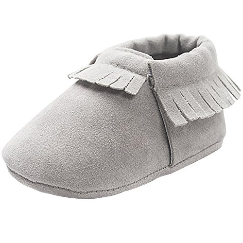 ZOEREA A Pair Unisex Baby Moccasins Soft Sole Anti Slip Tassels Prewalker  Toddler Shoes First Walking Shoes Grey 0-18