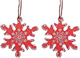 Purpledip wooden christmas snowflakes hangings, Set of 2 (chred19)