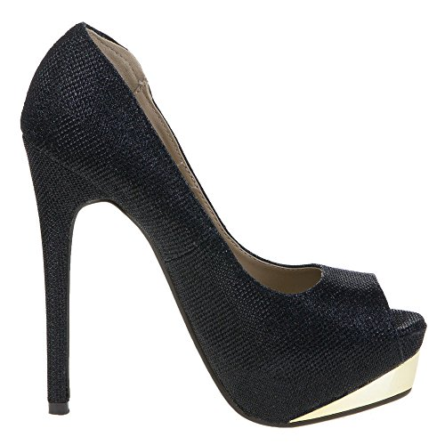 Ital - 28111, escarpins femme Noir - Schwarz 28155